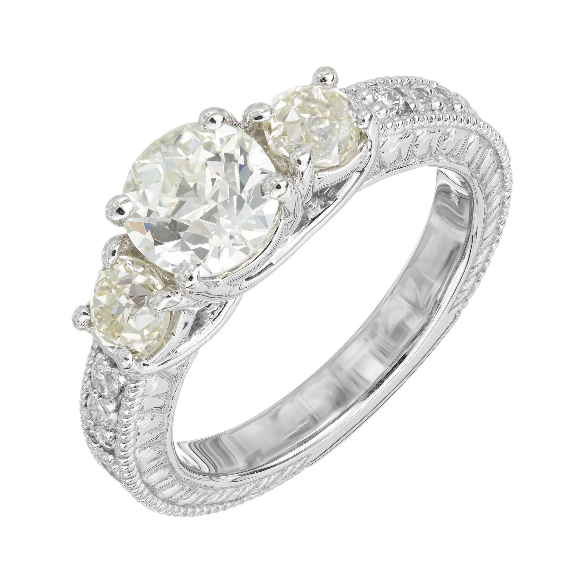 1.22 Carat Old European Cut Three-Stone Diamond White Gold Engagement Ring