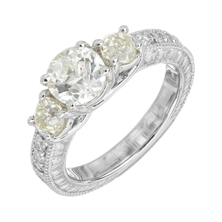 1.22 Carat Old European Cut Three-Stone Diamond White Gold Engagement Ring For Sale