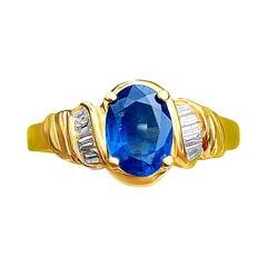 1.22 Carat Oval Cut Ceylon Sapphire and Diamond Ring 14k Gold Sri Lanka Sapphire