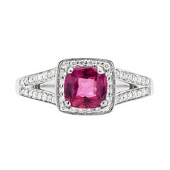 1.22 Carat Pink Sapphire and Diamond 18ct Gold Halo Cluster Engagement Ring