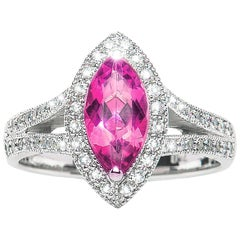 1.22 Carat Pink Tourmaline Marquise Diamond Cluster Ring Natalie Barney