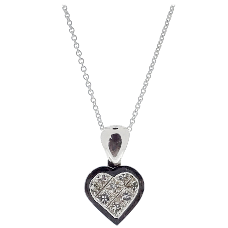 1.22 Carat Princess Cut Diamond Heart Shape Pendant in 18 Karat White Gold