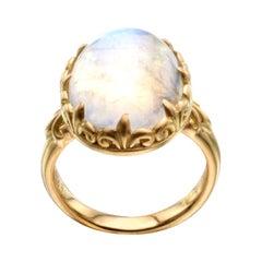 12.2 Carat Rainbow Moonstone Ring 18K Gold