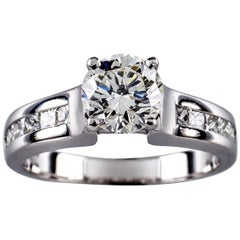 1.22 Carat Round Diamond 14 Karat White Gold Engagement Ring