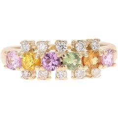 1.22 Carat Sapphire Diamond 14 Karat Yellow Gold Ring