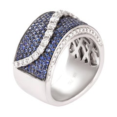1.22 Carat Sapphire Diamond Band 18 Karat White Gold Cocktail Ring