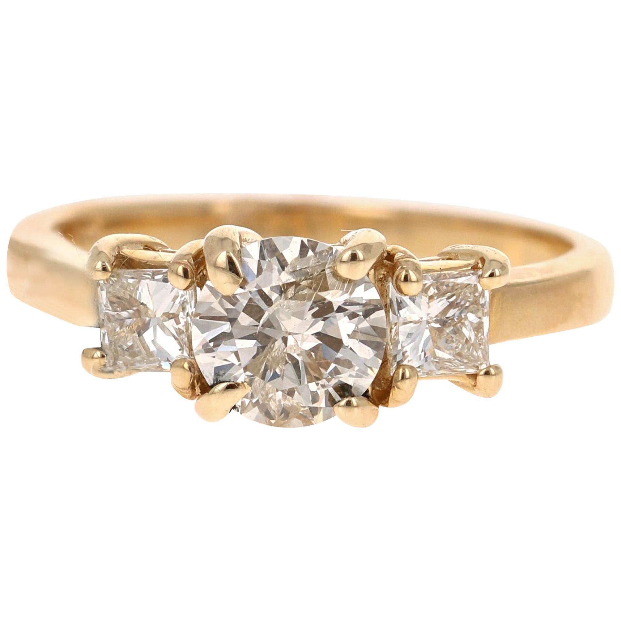 1.22 Carat Three-Stone Diamond 14 Karat Yellow Gold Engagement Ring