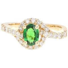 1.22 Carat Tsavorite Garnet Diamond 14 Karat Yellow Gold Ring
