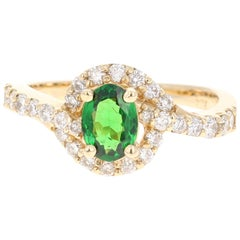 1.22 Carat Tsavorite Garnet Diamond 14 Karat Yellow Gold Ring