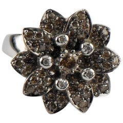 1.22 Carat White and Chocolate Diamond Cluster Flower Ring in White Gold