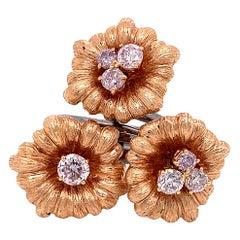 1.22 Carat White Diamond Gold Flower Motif Ring Crafted in 18 Karat Gold