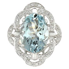 12.20 Carat Natural Aquamarine 18 Karat White Gold Diamond Ring
