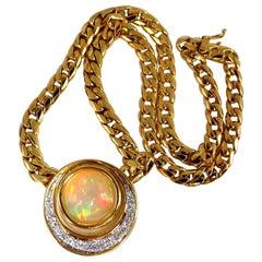 12.20 Carat Natural Opal Diamond Crescent Necklace 18 Karat