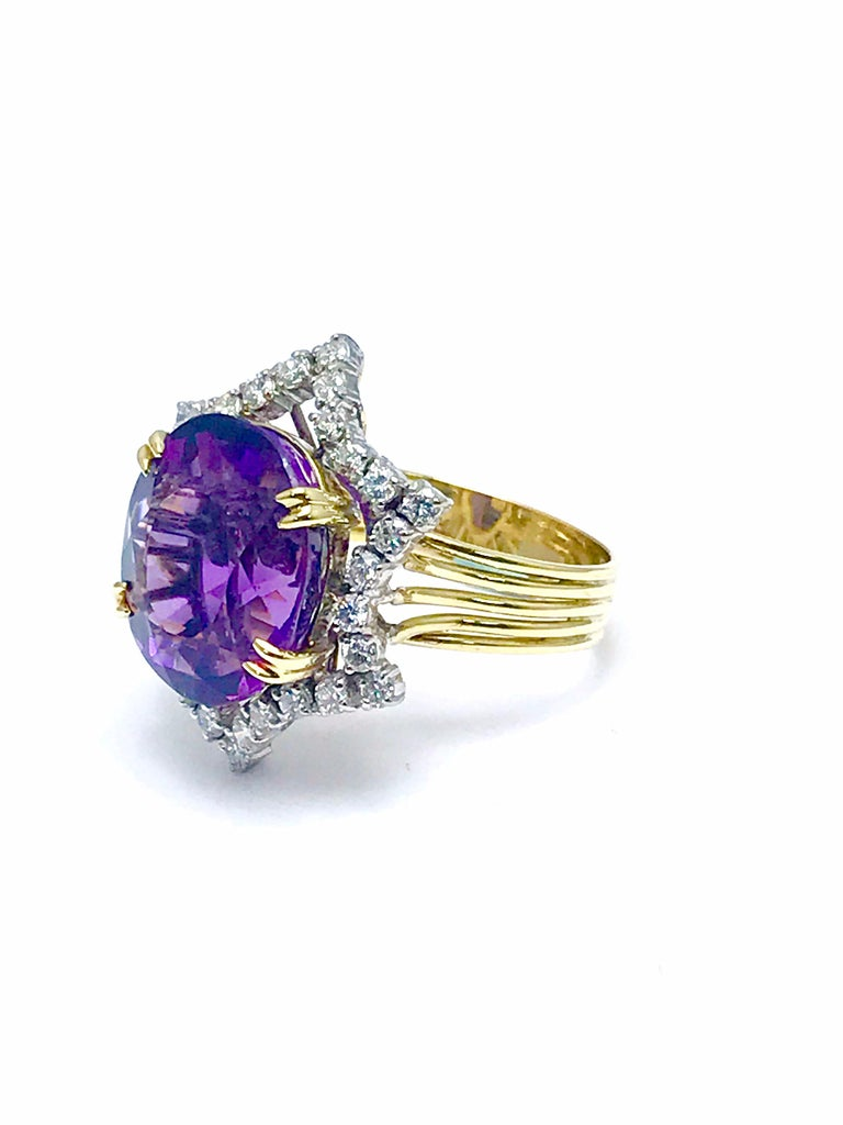 Modern 12.20 Carat Oval Amethyst and Round Diamond Cocktail Ring For Sale