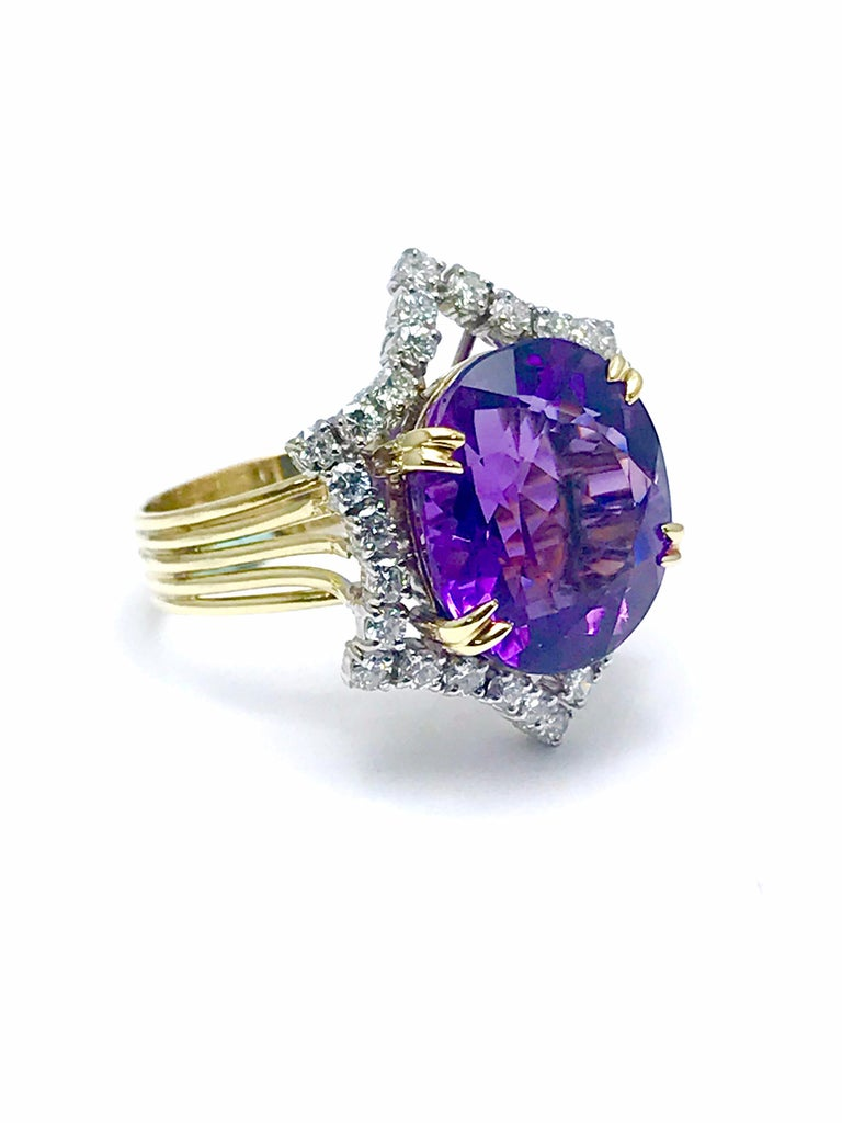 Oval Cut 12.20 Carat Oval Amethyst and Round Diamond Cocktail Ring For Sale