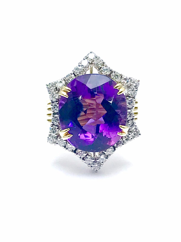 12.20 Carat Oval Amethyst and Round Diamond Cocktail Ring In Excellent Condition For Sale In Washington, DC