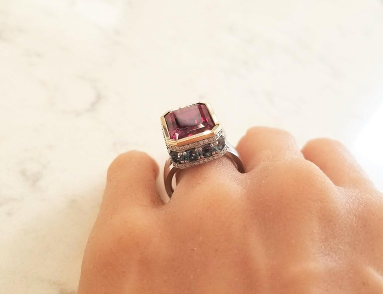 12.22 Carat Emerald Cut Rubelite and Diamond Cocktail Two Tone Ring in 18 Karat For Sale 2