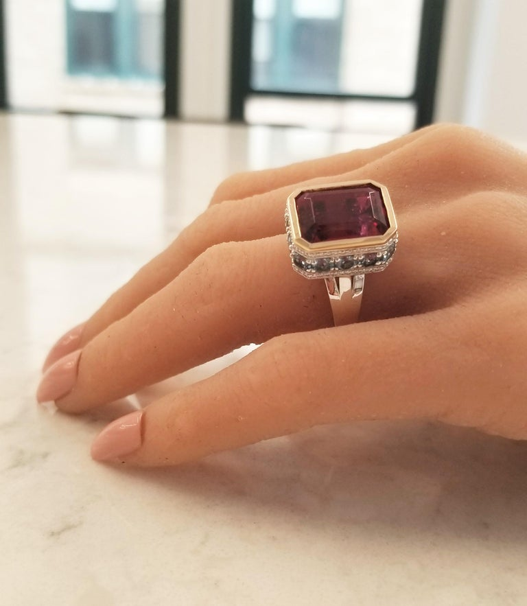 12.22 Carat Emerald Cut Rubelite and Diamond Cocktail Two Tone Ring in 18 Karat For Sale 3