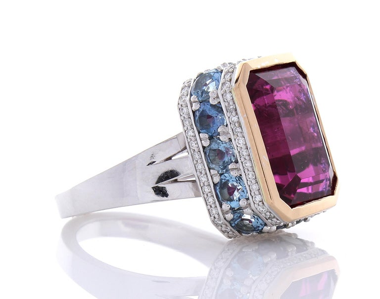 Contemporary 12.22 Carat Emerald Cut Rubelite and Diamond Cocktail Two Tone Ring in 18 Karat For Sale
