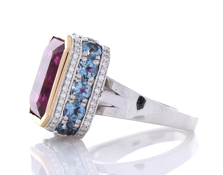 12.22 Carat Emerald Cut Rubelite and Diamond Cocktail Two Tone Ring in 18 Karat In New Condition For Sale In Chicago, IL