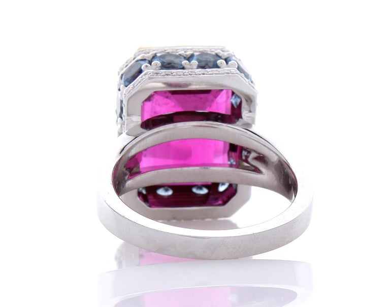 12.22 Carat Emerald Cut Rubelite and Diamond Cocktail Two Tone Ring in 18 Karat For Sale 1