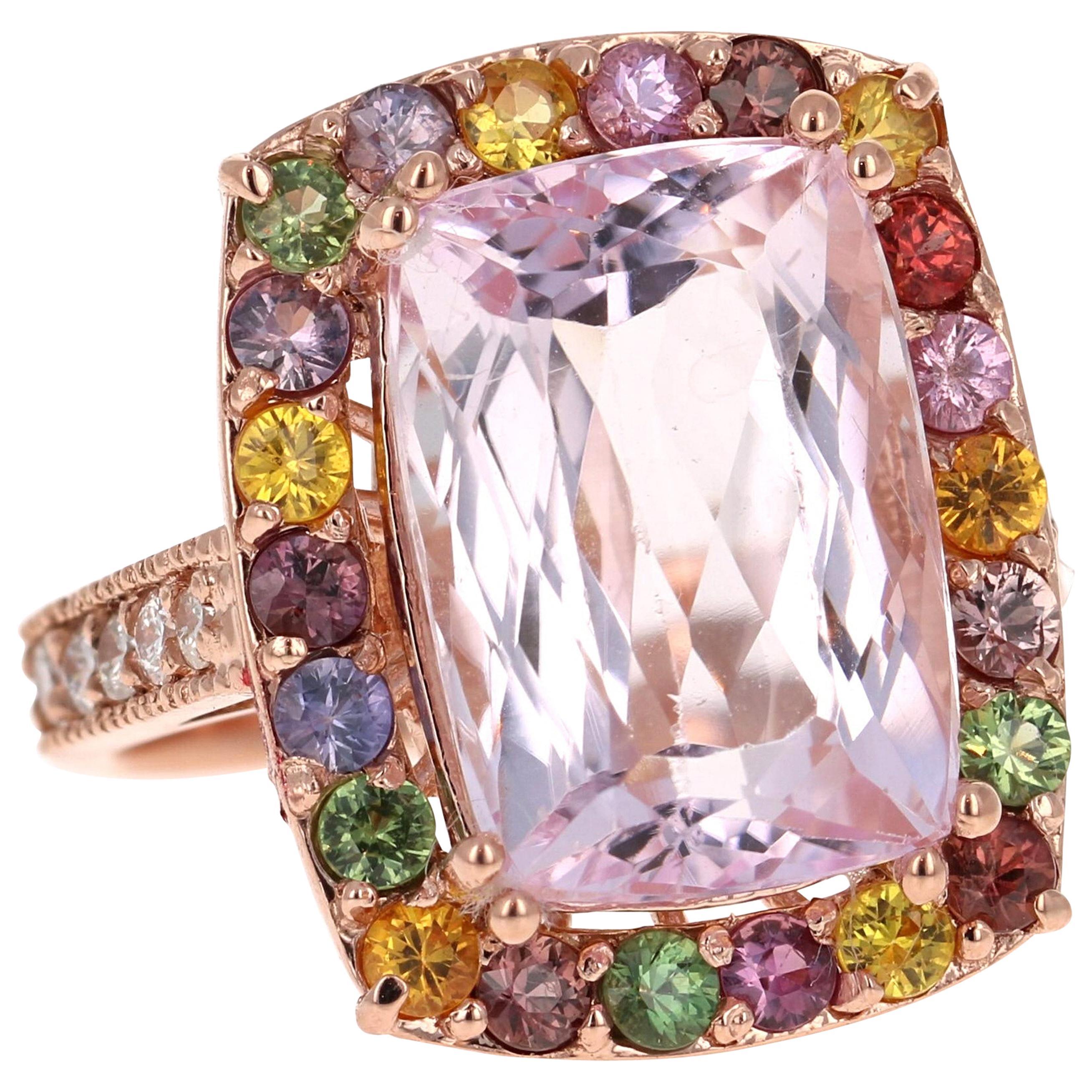 12.22 Carat Kunzite, Sapphire and Diamond 14 Karat Rose Gold Cocktail Ring