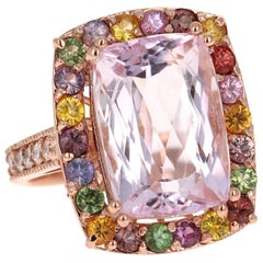 12.22 Carat Kunzite, Sapphire and Diamond 14 Karat Rose Gold Cocktail Ring