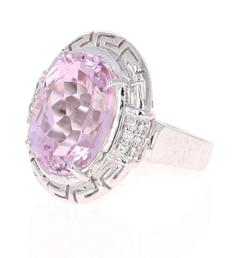 Art Deco 12.23 Carat Kunzite Diamond White Gold Cocktail Ring