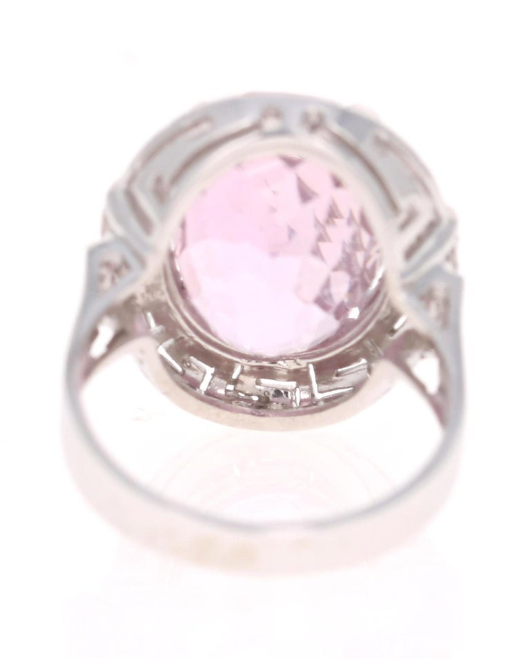 Oval Cut 12.23 Carat Kunzite Diamond White Gold Cocktail Ring