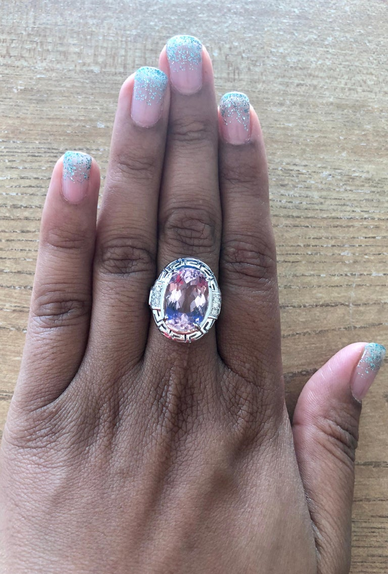 12.23 Carat Kunzite Diamond White Gold Cocktail Ring In New Condition In San Dimas, CA