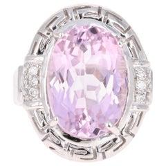 12.23 Carat Kunzite Diamond White Gold Cocktail Ring