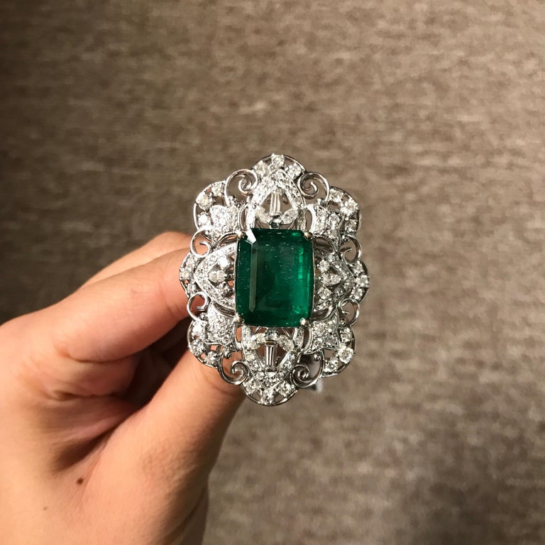12 24 Carat Emerald And Diamond 18 Karat Gold Cocktail