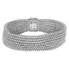 10.99 Carat Seven-Row White Diamond Velvet Bracelet