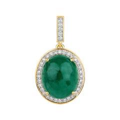 12.25 Carat Emerald Cabochon and White Diamond 14 Karat Yellow Gold Pendant