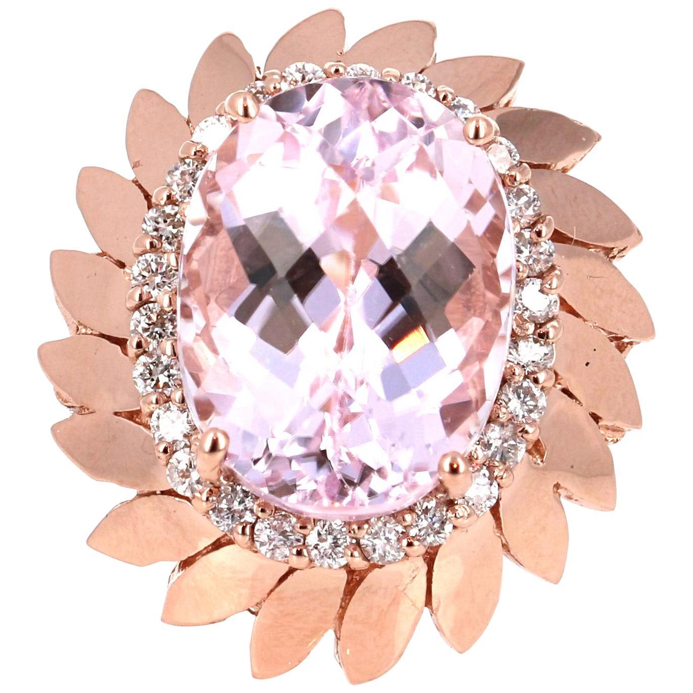 12.26 Carat Oval Cut Kunzite Diamond 14 Karat Rose Gold Cocktail Ring