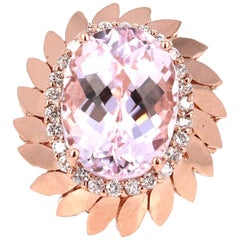 12.26 Carat Kunzite Diamond Rose Gold Cocktail Ring