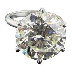 12.26 Carat Round Brilliant Cut Diamond Solitaire Set in Platinum