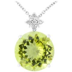 12.28 Carat Green Quartz and Diamond Pendant
