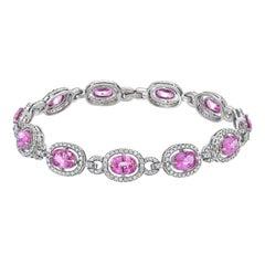 12.28 Carat Pink Sapphire Diamond Platinum Bracelet