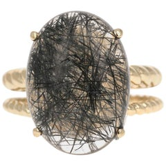 12.29 Carat Oval Cut Rutilated Quartz Yellow Gold Solitaire Ring