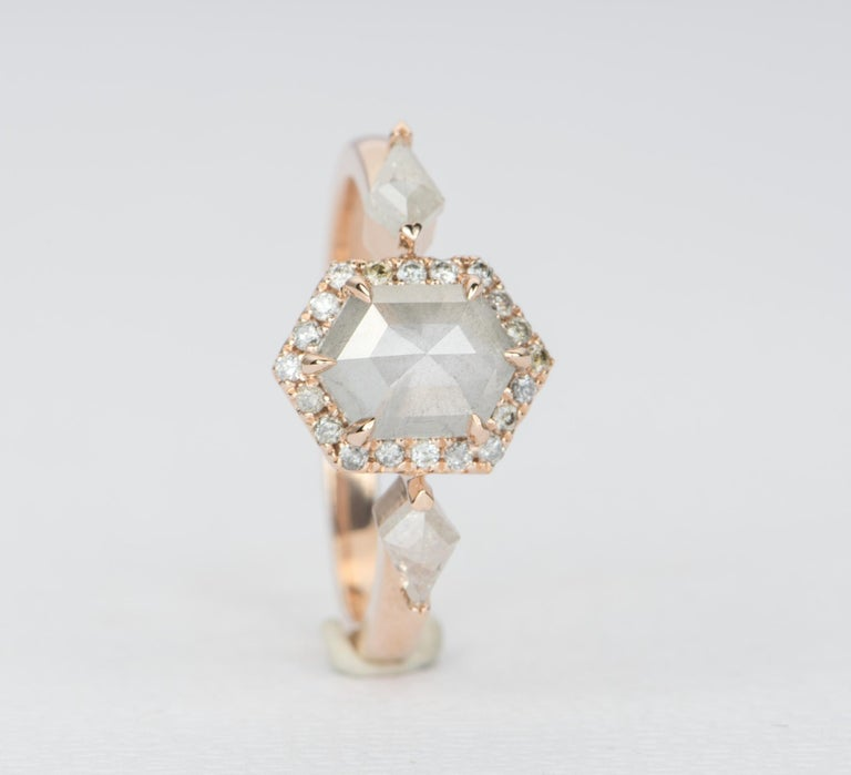 1.22ct Hexagon Salt and Pepper Diamond Halo Engagement Ring 14k Rose Gold AD2372 In New Condition For Sale In Osprey, FL