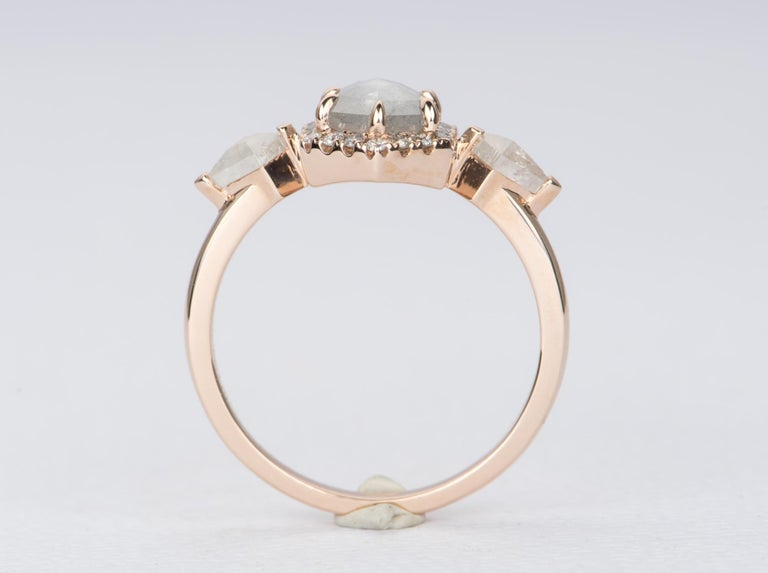 Women's or Men's 1.22ct Hexagon Salt and Pepper Diamond Halo Engagement Ring 14k Rose Gold AD2372 For Sale