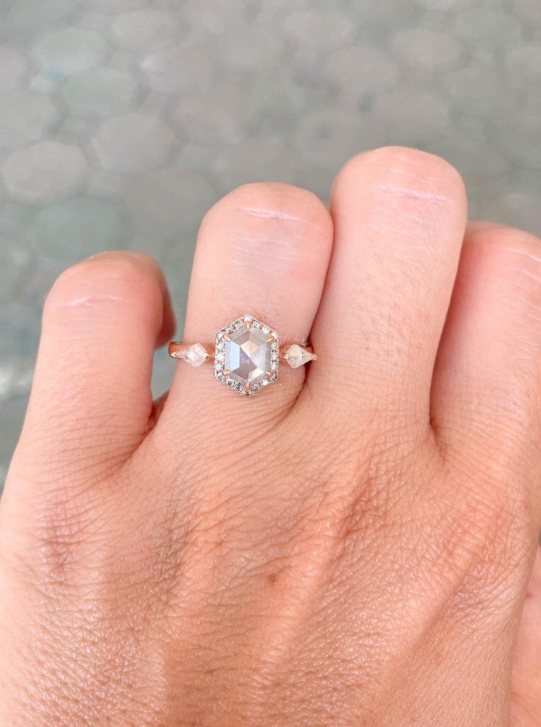 1.22ct Hexagon Salt and Pepper Diamond Halo Engagement Ring 14k Rose Gold AD2372 For Sale 1