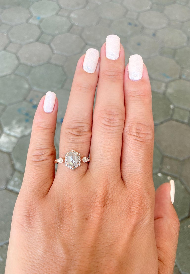 1.22ct Hexagon Salt and Pepper Diamond Halo Engagement Ring 14k Rose Gold AD2372 For Sale 2