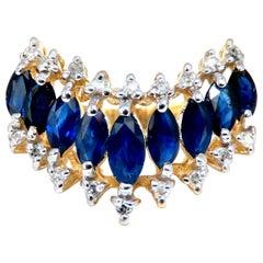 1.22 Carat Natural Marquise Sapphires Diamonds Band 14 Karat Chevron