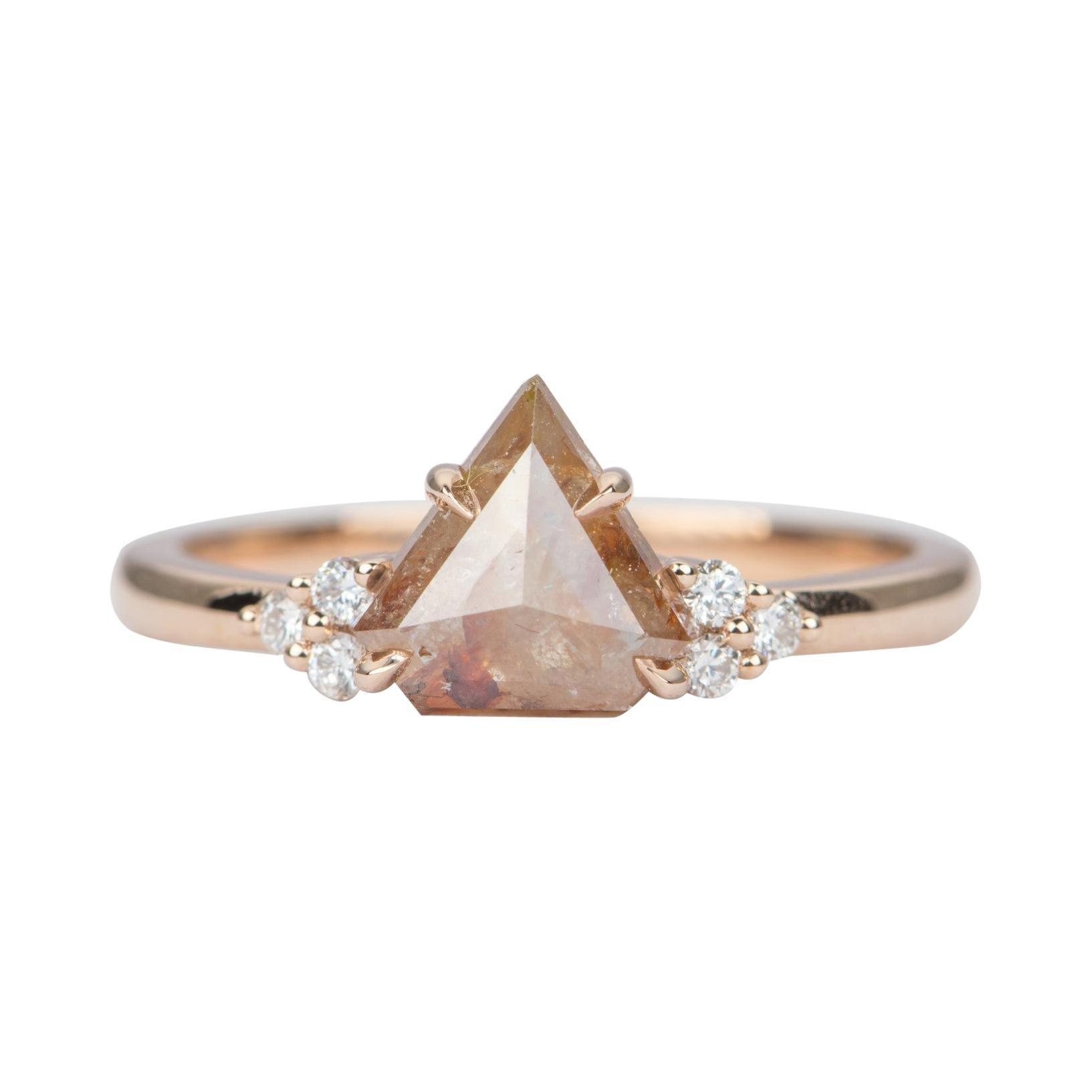 1.22ct Salt and Pepper Diamond 14k Rose Gold Engagement Ring Trio Diamond AD2370