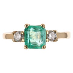 1.22tcw 14K Three Stone Colombian Emerald, Emerald Cut & Round Diamond Ring