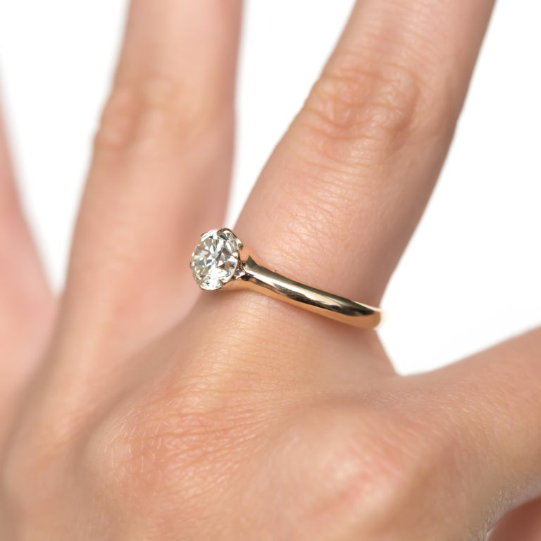 1.23 Carat Diamond Yellow Gold Engagement Ring For Sale At