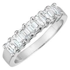 1.23 Carat Emerald Cut Diamond Shared Prong Band in 18 Karat White Gold