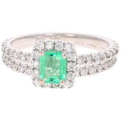 1.23 Carat Emerald Diamond White Gold Engagement Ring with Band